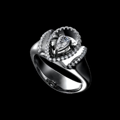 Кольцо из белого золото с бриллиантами
