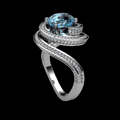 Кольцо из белого золота с топазом и бриллиантами