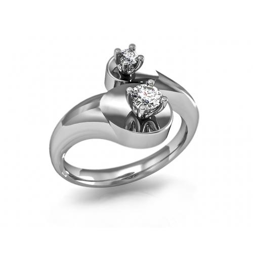 Кольцо из белого золота с двумя бриллиантами