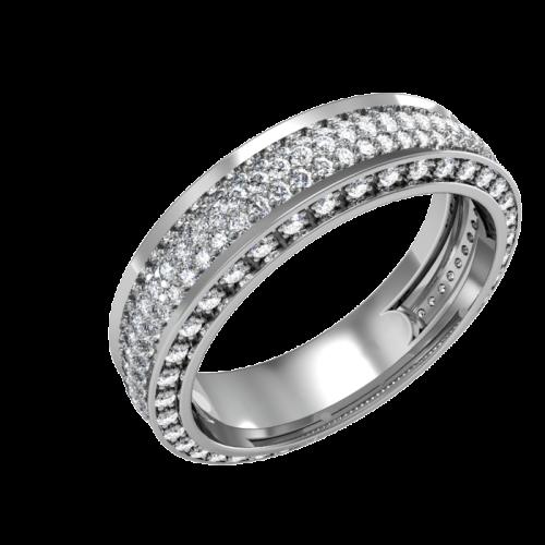 Кольцо из белого золота, усыпанное бриллиантами