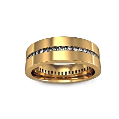Золотое кольцо с дорожкой из бриллиантов