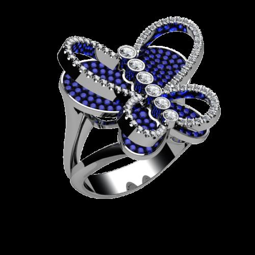 Дизайнерское кольцо с сапфирами и бриллиантами