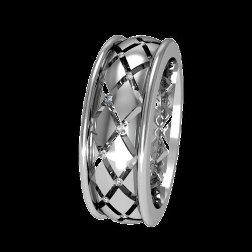 Кольцо обручальное с маленькими бриллиантами NM1J