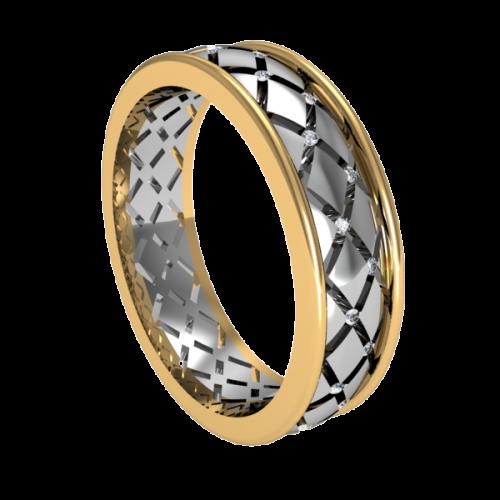 Кольцо обручальное с маленькими бриллиантами NM1M