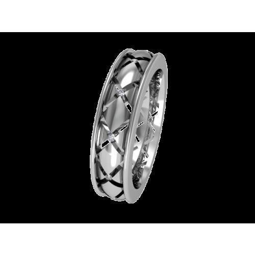 Кольцо обручальное с россыпью бриллиантов NM2J