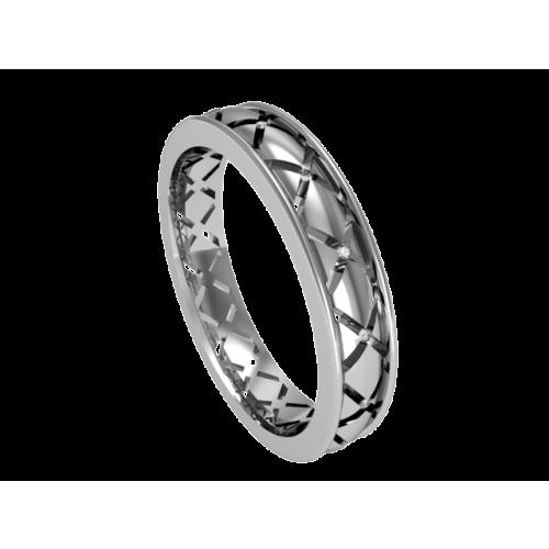 Кольцо обручальное с россыпью бриллиантов NM2M