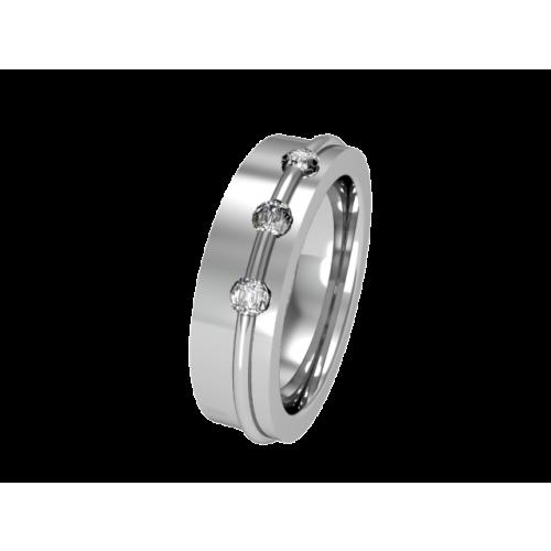 Кольцо обручальное с 3 бриллиантами NM4J
