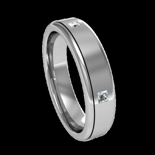Кольцо обручальное с квадратными бриллиантами NM8M