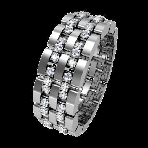 Кольцо обручальное с дорожкой из бриллиантов NM10J