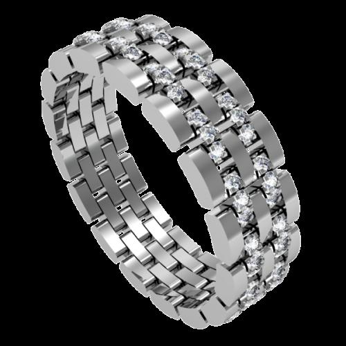 Кольцо обручальное с дорожкой из бриллиантов NM10M
