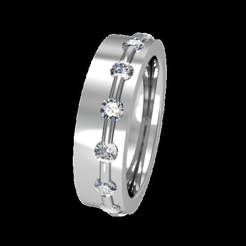 Кольцо обручальное с крупными бриллиантами NM11J