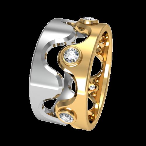 Комбинированное обручальное кольцо с бриллиантами NM12J