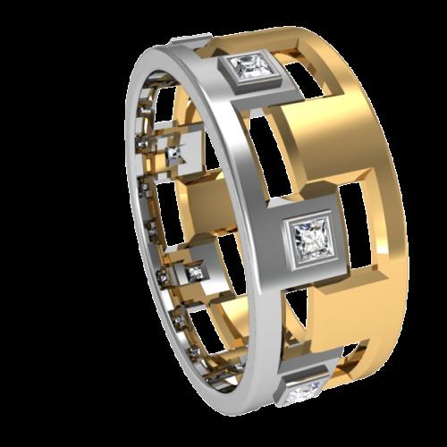Комбинированное обручальное кольцо с бриллиантами NM12M