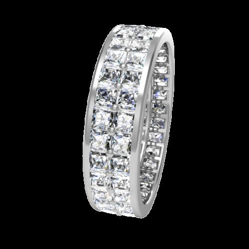 Кольцо обручальное с бриллиантами по кругу NM13J