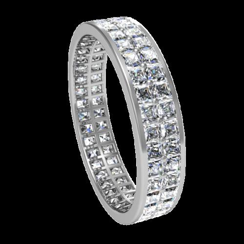Кольцо обручальное с бриллиантами по кругу NM13M