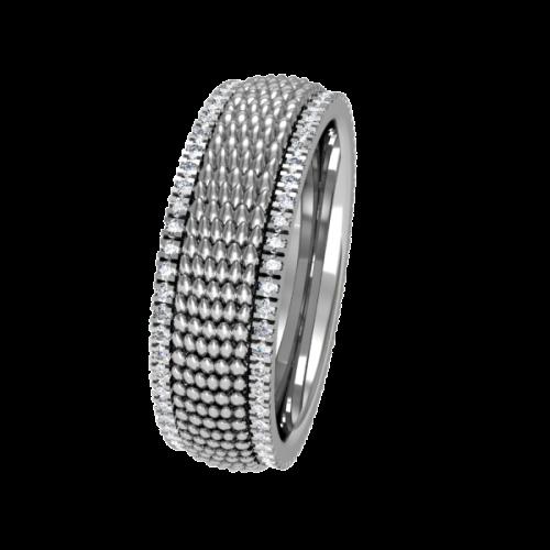 Кольцо обручальное с россыпью бриллиантов NM14J