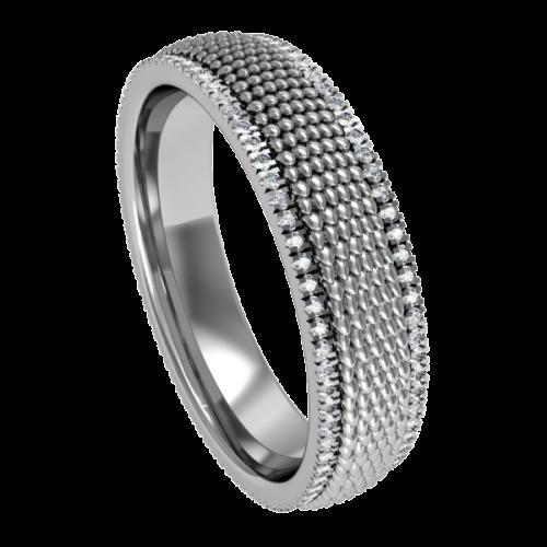 Кольцо обручальное с россыпью бриллиантов NM14M