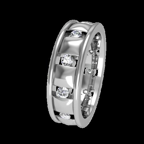 Кольцо обручальное с крупными бриллиантами NM15J