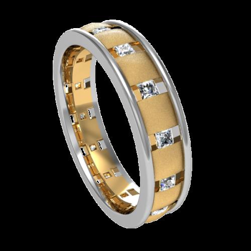 Кольцо обручальное с квадратными бриллиантами NM15M