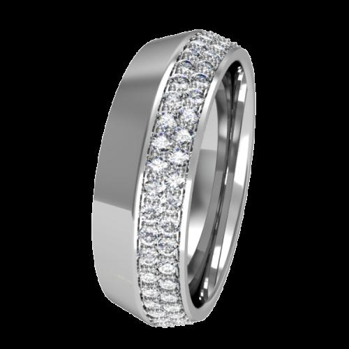 Кольцо обручальное с маленькими бриллиантами NM17J