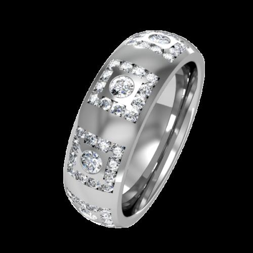 Кольцо обручальное с бриллиантами по кругу NM18J