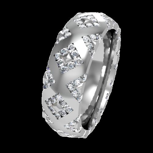 Кольцо обручальное с россыпью бриллиантов NM20J