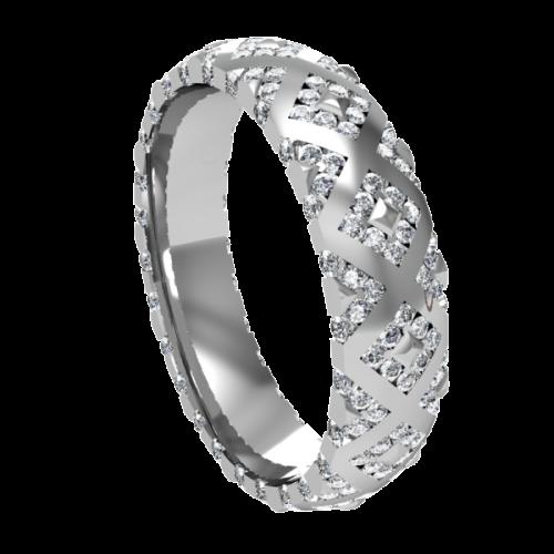 Кольцо обручальное с россыпью бриллиантов NM20M