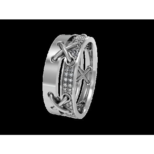 Комбинированное обручальное кольцо с бриллиантами NM22J