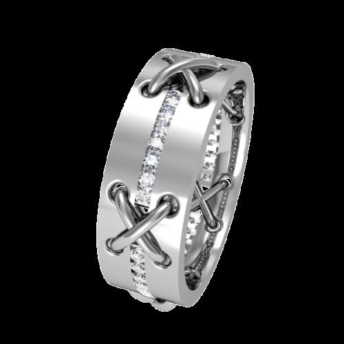 Комбинированное обручальное кольцо с бриллиантами NM23J