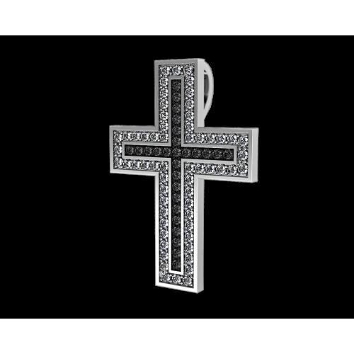 Крест из белого золота с бриллиантами