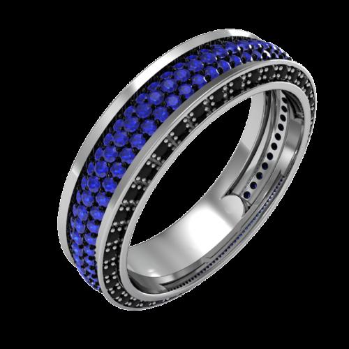Кольцо из белого золота с сапфирами и черными бриллиантами