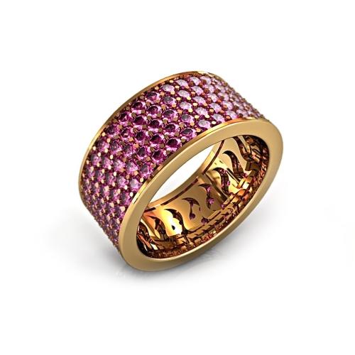 Кольцо из розового золота с сапфирами