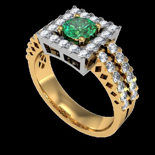 Кольцо из желтого золота с изумрудом и бриллиантами