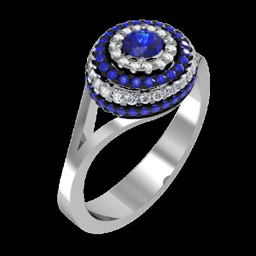 Кольцо из белого золота с сапфиром и бриллиантами