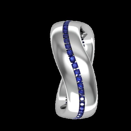 Кольцо обручальное с сапфирами NM6J