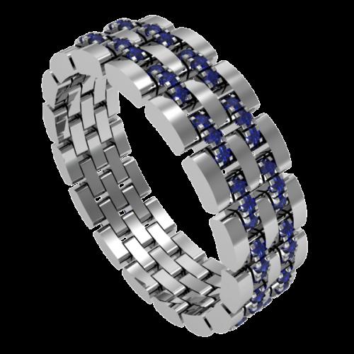 Кольцо обручальное с сапфирами NM10M