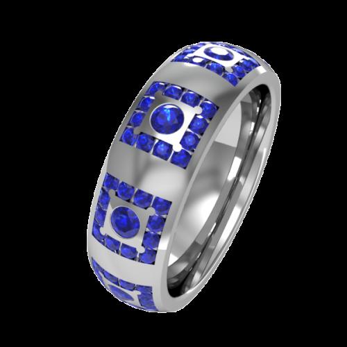 Кольцо обручальное с сапфирами NM18J