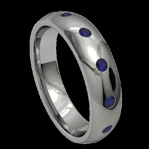 Кольцо обручальное с сапфирами NM18M