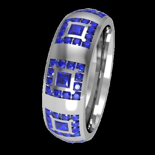 Кольцо обручальное с сапфирами NM19J