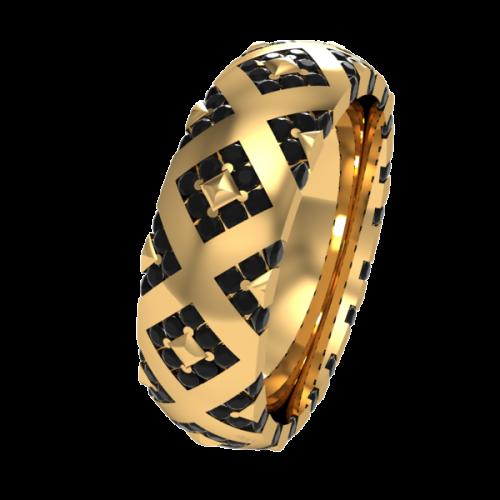 Кольцо обручальное с черными бриллиантами NM20J