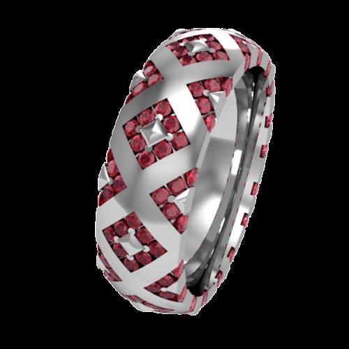 Кольцо обручальное с рубинами NM20J