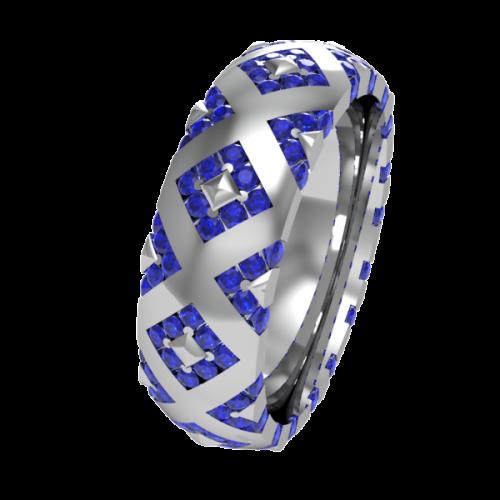 Кольцо обручальное с сапфирами NM20J