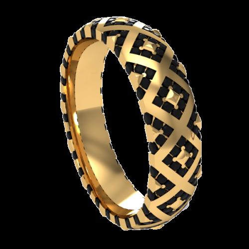 Кольцо обручальное с черными бриллиантами NM20M