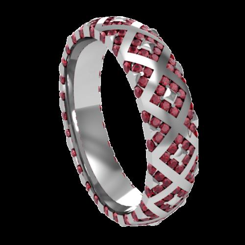 Кольцо обручальное с рубинами NM20M