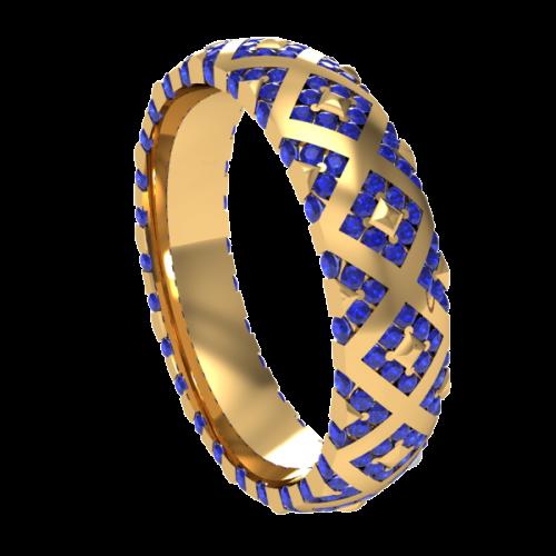 Кольцо обручальное с сапфирами NM20M