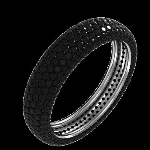Кольцо обручальное с черными бриллиантами NM25M