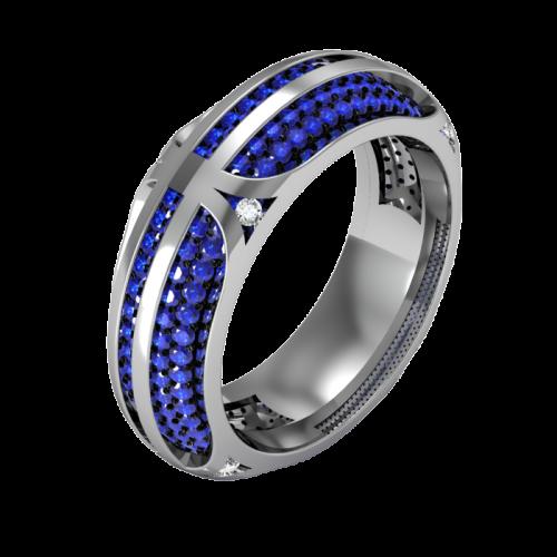 Кольцо обручальное с бриллиантами и сапфирами TWAIN