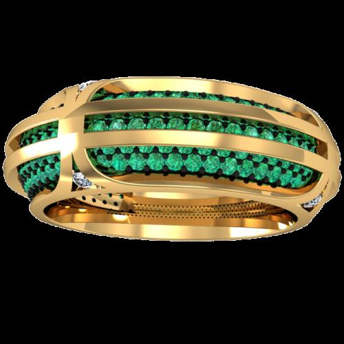 Кольцо обручальное с бриллиантами и изумрудами TWAIN