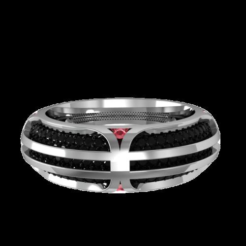 Кольцо обручальное с бриллиантами и рубинами TWAIN