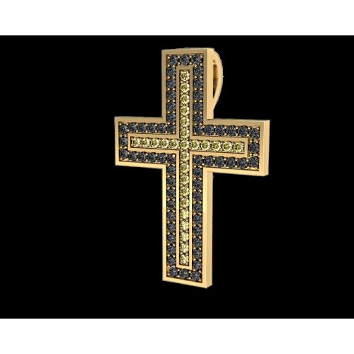 Крест из желтого золота с черными бриллиантами и сапфирами